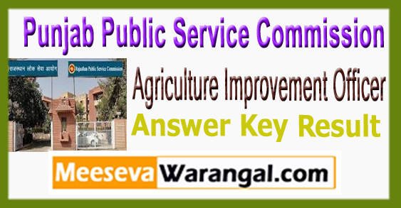 PPSC Agriculture Improvement Officer Answer Key Result Cut Off 2017