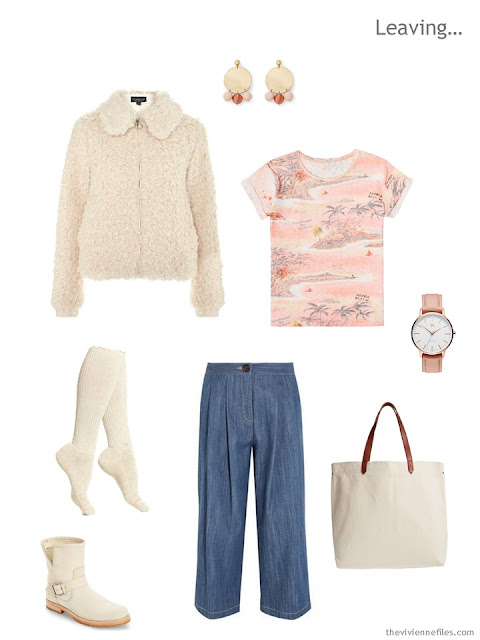 travel outfit in ivory, peach and denim