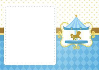 Carrusel en Celeste: Invitaciones para Imprimir Gratis.