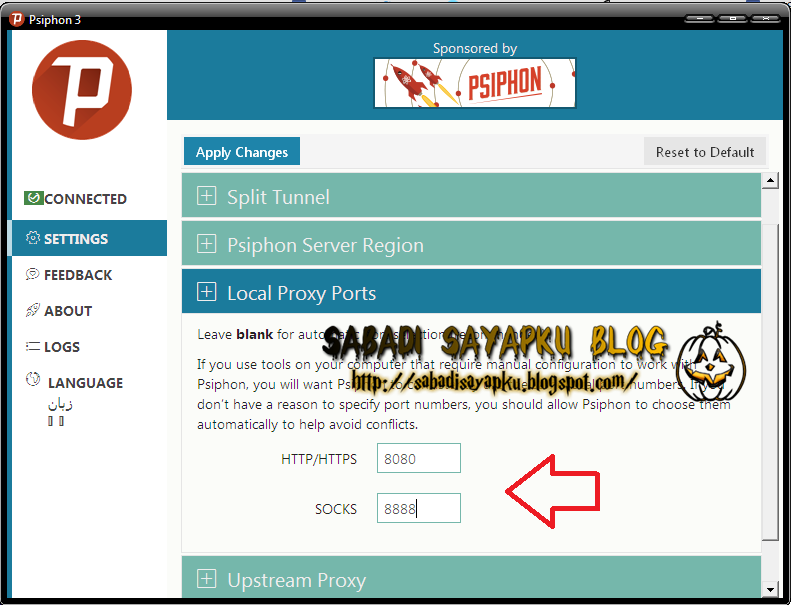 Psiphon 3 upstream proxy settings