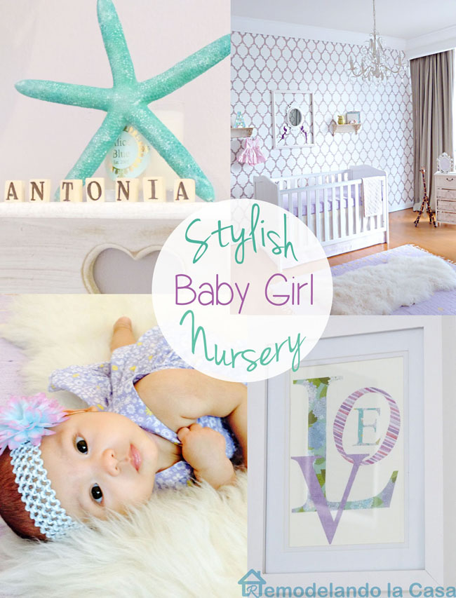 a purple and light green nursery for a baby girl.