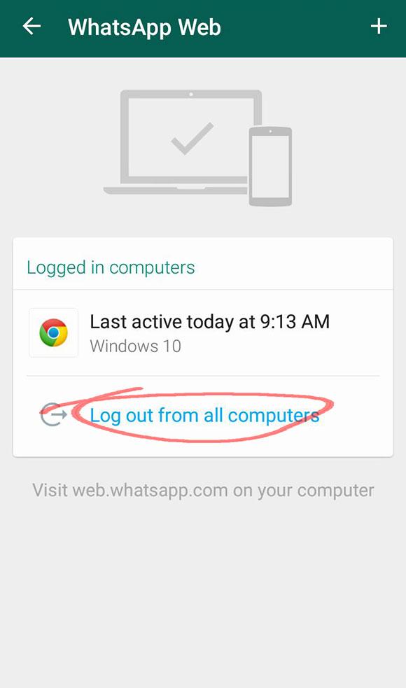 log out whatsapp web dari laptop