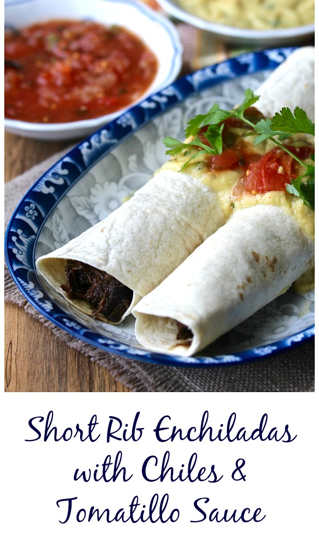 Short Rib Enchiladas with Chiles and Tomatillo Sauce #enchiladas #beef #shortribs #mexicanfood