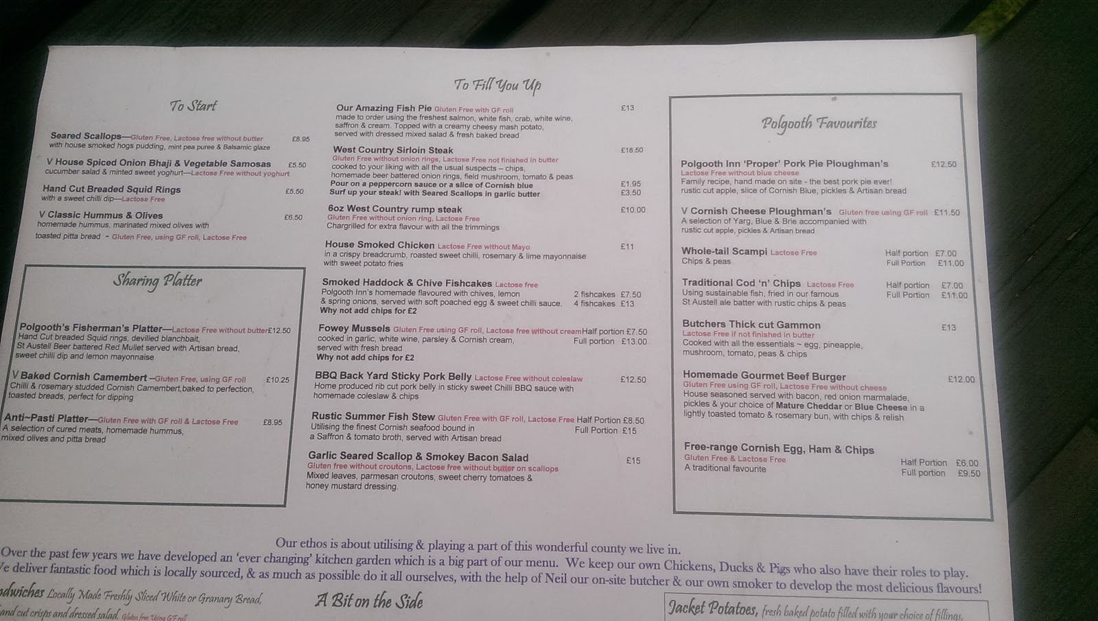 Polgooth Inn Menu