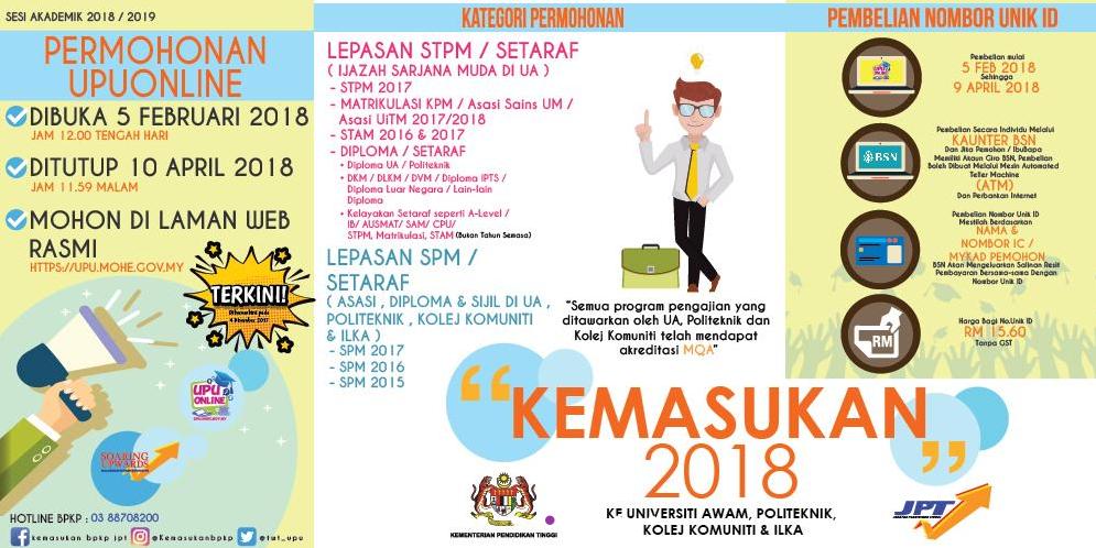 Permohonan UPU 2018 online untuk pelajar lepasan SPM dan STPM