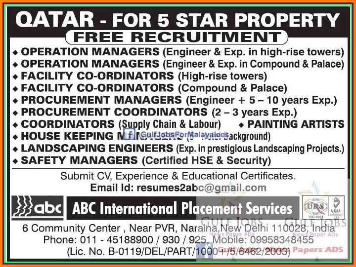 Free job Recruitment for Qatar 5 star Hotel Jobs - Gulf ...