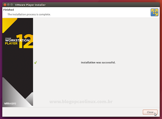 VMware Workstation Player instalado com sucesso!