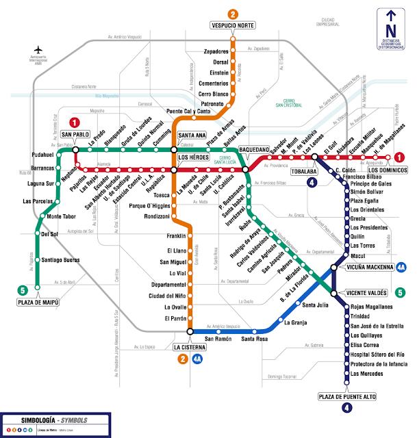 Mapa do metrô de Santiago