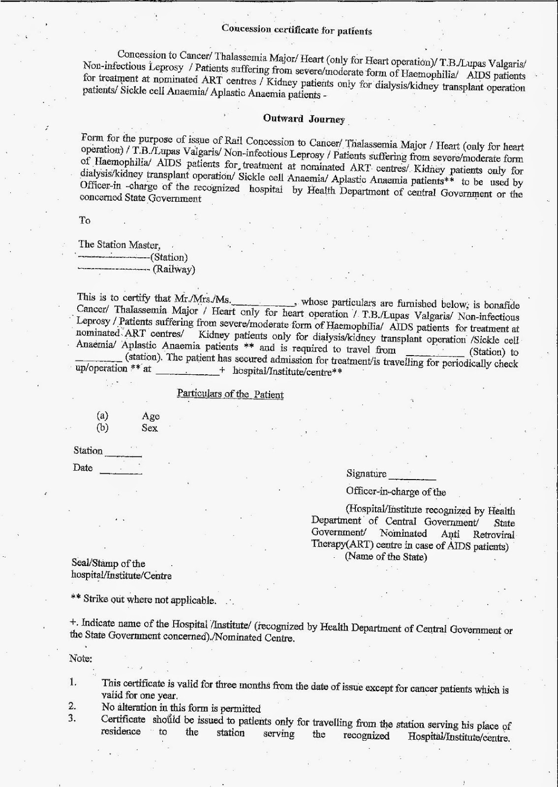 revised railway concession certificate forms for all the
