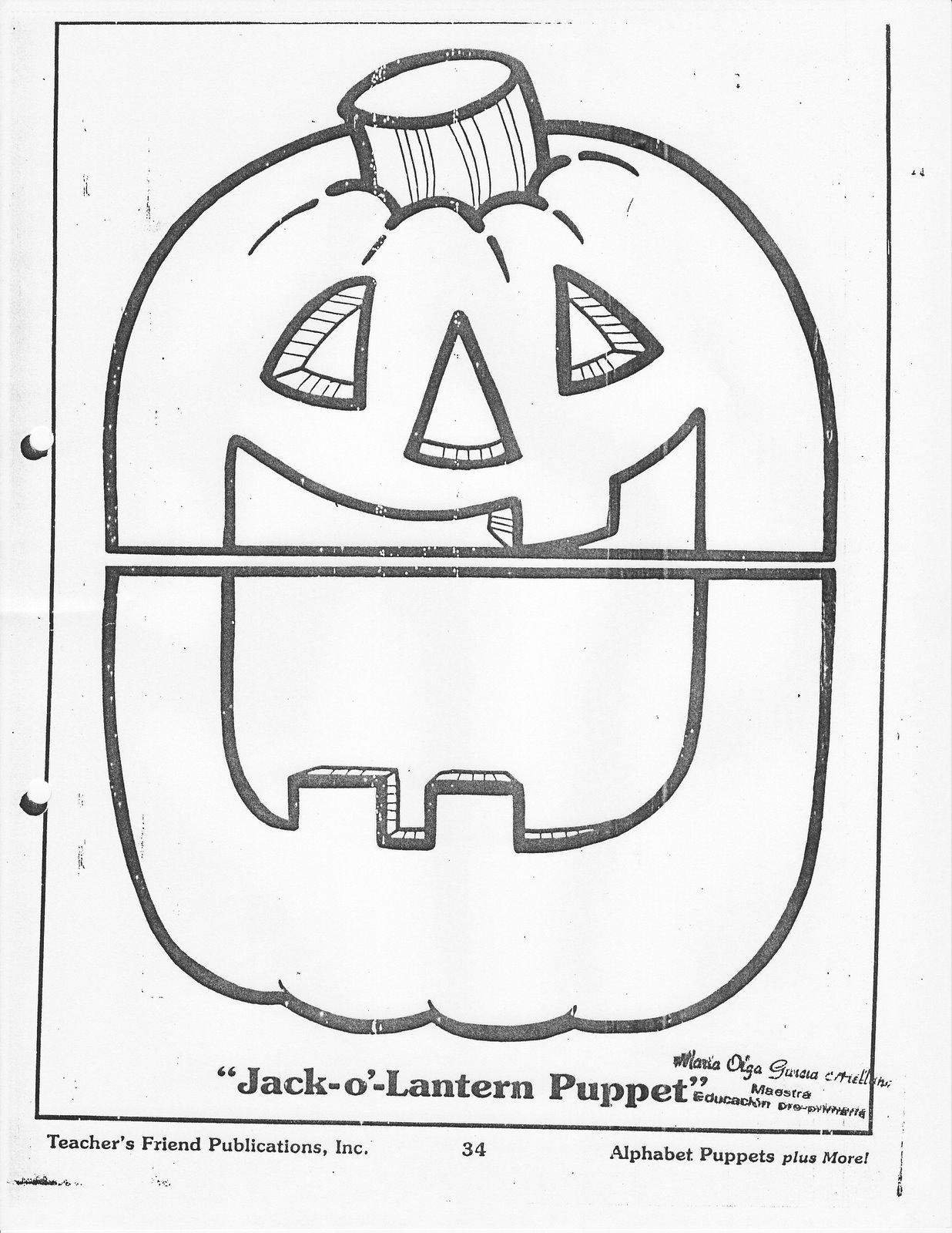 Fichas De Ingles Para Ninos Pumpkin Puppet