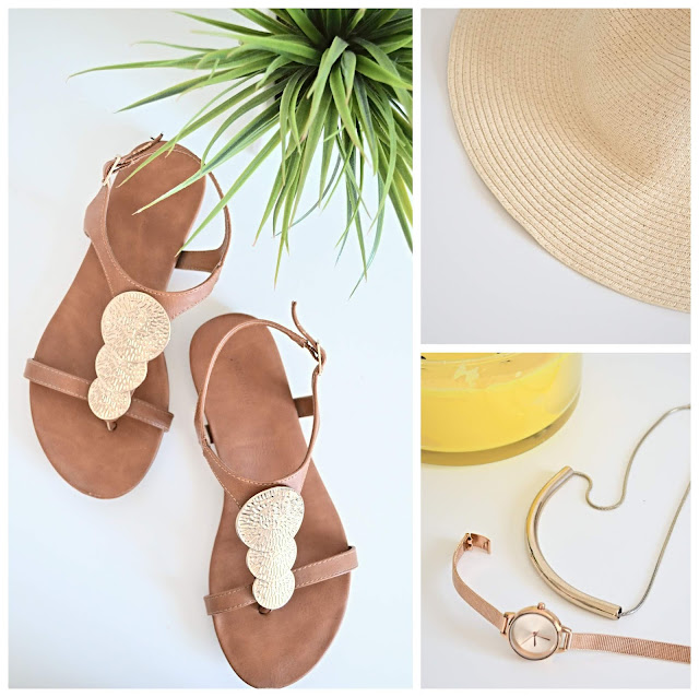 summer sandals, jewelry and hat flatlay