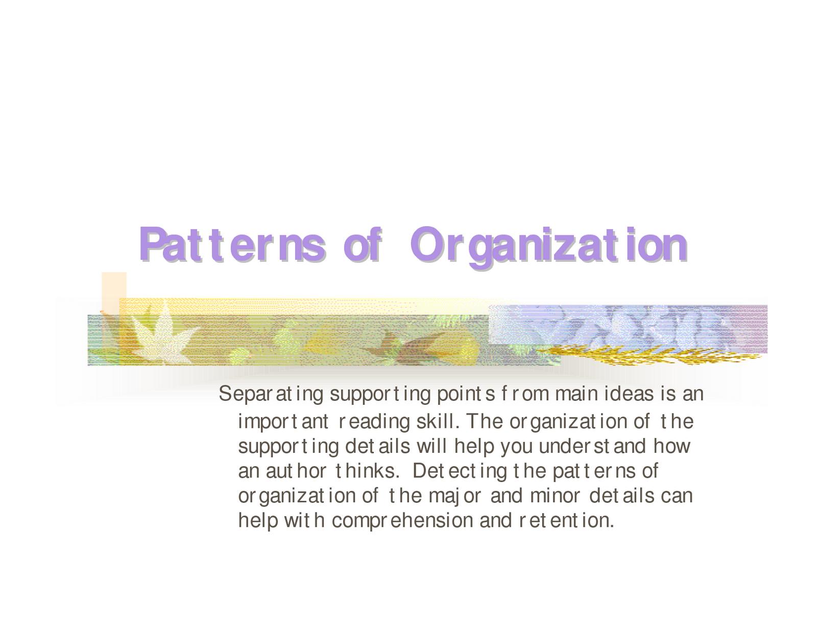 Identifying Text Organization Patterns