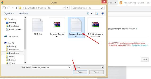 Installing Theme Blogger Generate Premium