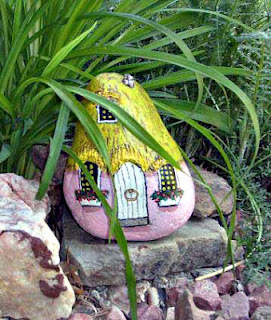 home, rock painting, house, building, garden, gnome, painted rocks