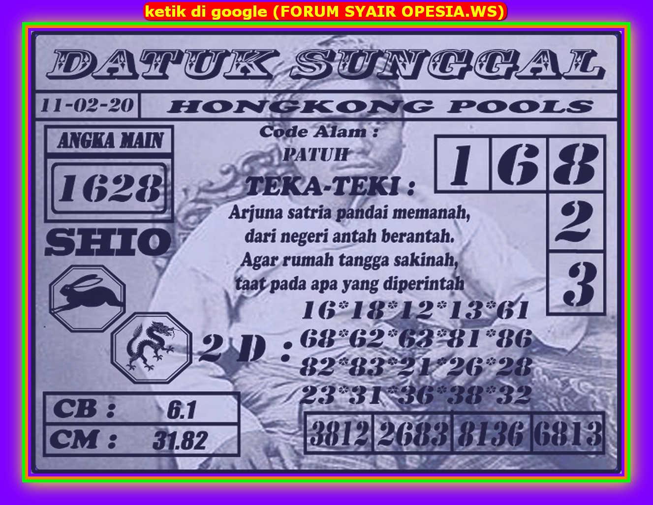 Kode syair Hongkong Selasa 11 Februari 2020 166
