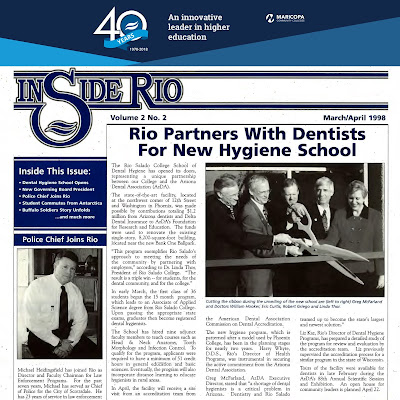 "snapshot of ""InSide Rio"" magazine Volume 2, No. 2.  Headline: Rio Parnters with Dentists for New Hygiene School"
