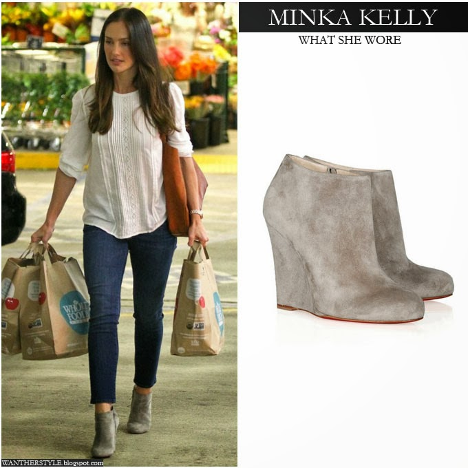 eacde36ce WHAT SHE WORE  Minka Kelly in beige suede wedge ankle boots shopping ...