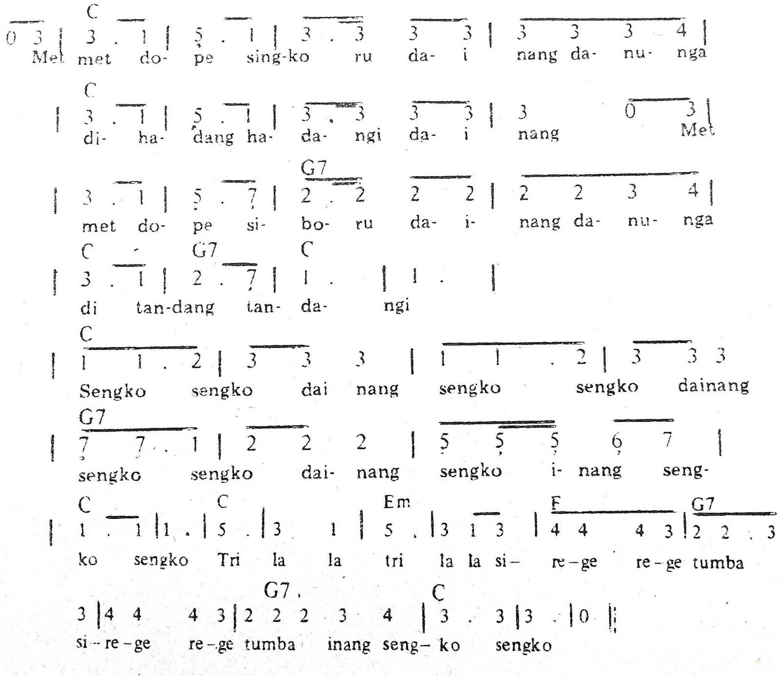 Chord & Arti Lirik Lagu Sumatera Utara: Sengko Sengko + Not Angka