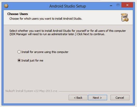 Android Studio Setup Choose User Option