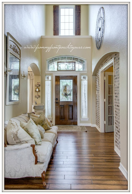 French Farmhouse Foyer-Board And batten Shutters-Two Story Foyer-From My Front Porch To Yours