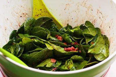 Low-Carb Spinach Salad with Bacon and Feta found on KalynsKitchen.com