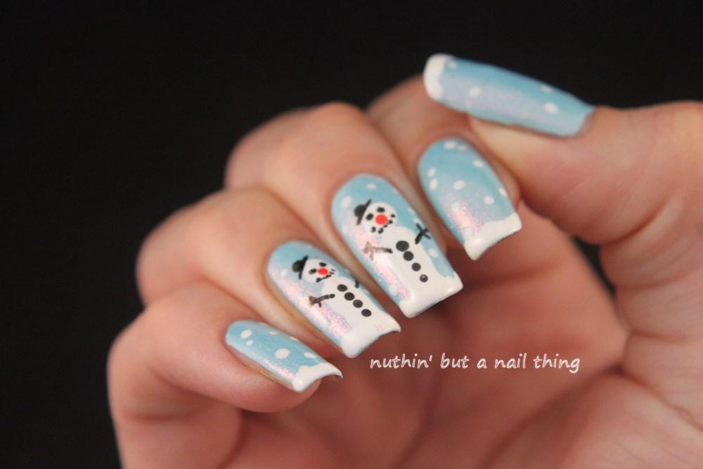 snowman christmas nail art tutorial