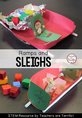 STEM Challenge for December: Build a sleigh to hold packages and then find the perfect angle of ramp to slide it down! Great fun. Check the blog post for more!