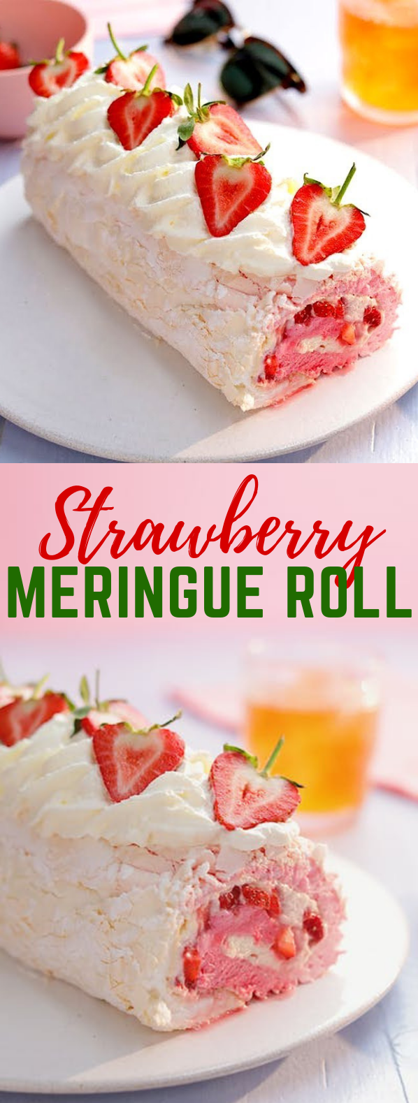 Strawberry Meringue Roll #dessert #sweets