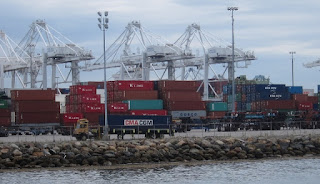 Photo of containers and truck at Port of Long Beach