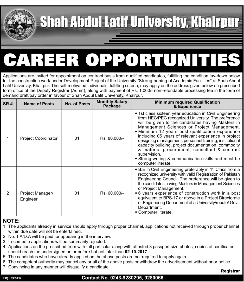 Jobs In Shah Abdul Latif University Sep 2017