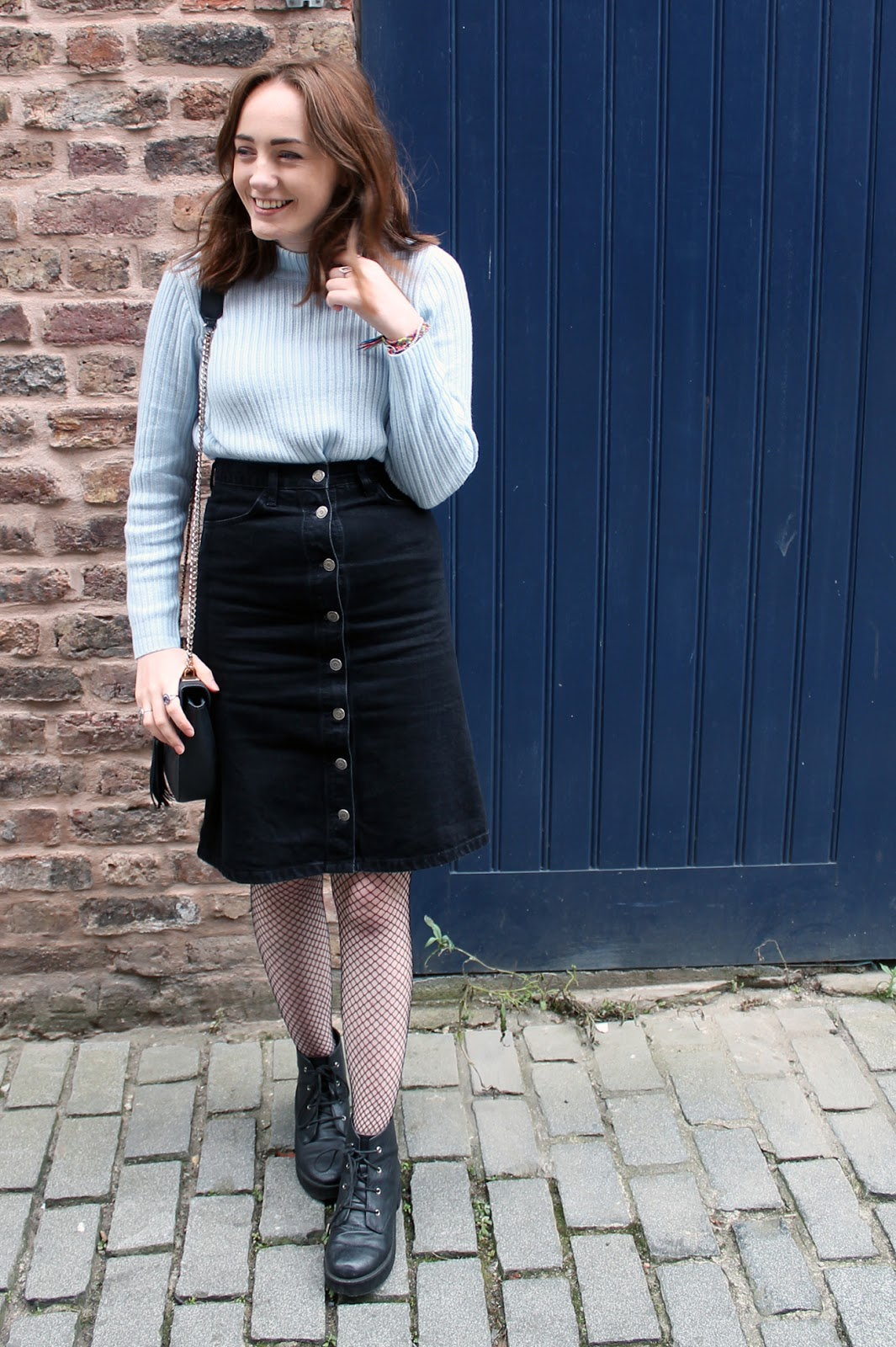 pastel blue H&M jumper, topshop black denim button up midi skirt, fishnet tights, asos black boots