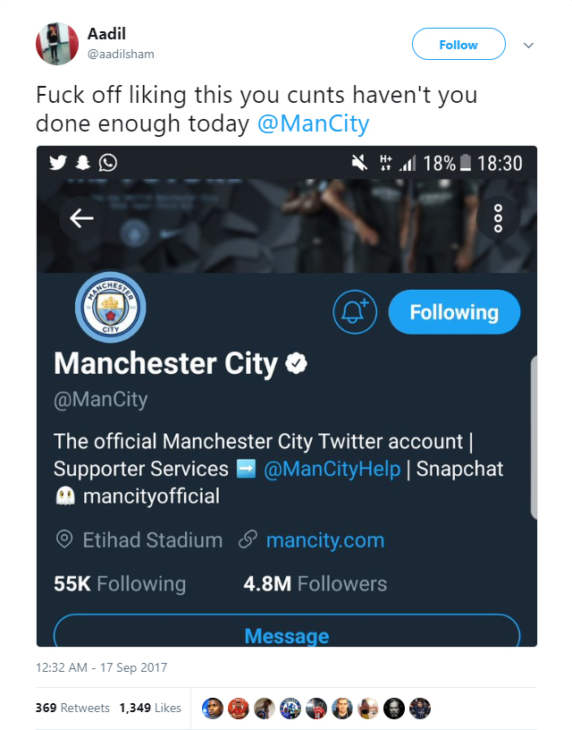 Manchester City's Twitter account likes tweet of Watford fan @aadilsham