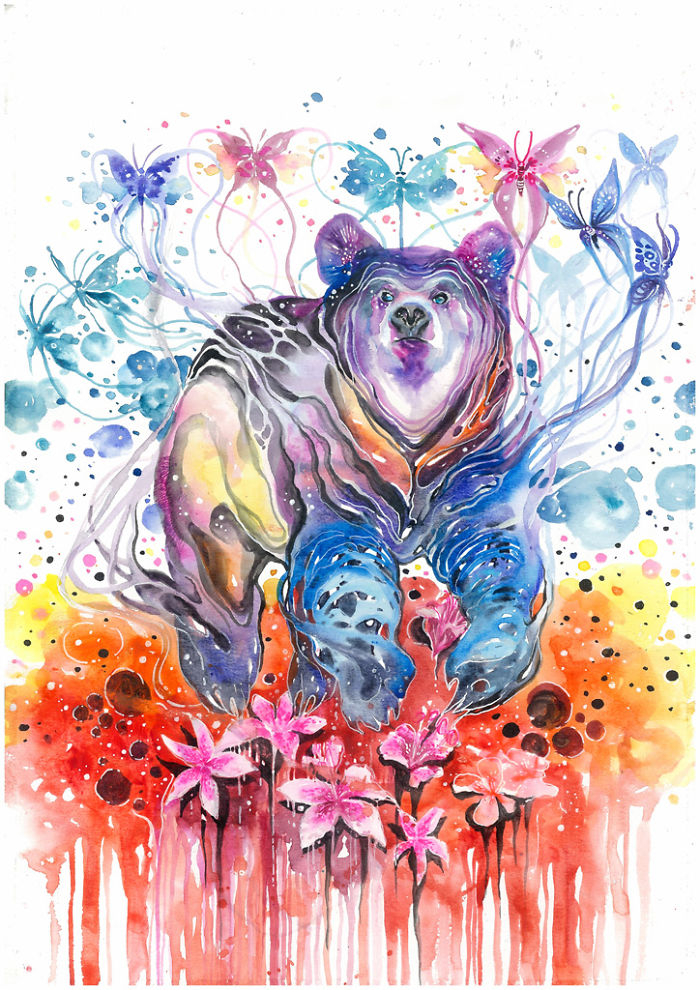 02-Love-Goes-On-Luqman Reza jongkie-Painting-Fantasy-worlds-with-Flowing-Watercolor-Animals-www-designstack-co