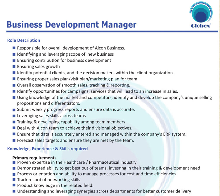 Globex Marketing Company Ltd Business Development Manager Job