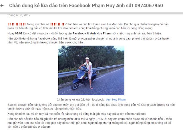 Anh Huy Phạm lừa đảo