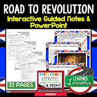 Road to Revolution, American History Guided Notes, American History Interactive Notebook, Google and Print, American History Note Taking, American History PowerPoints, American History Anticipatory Guides
