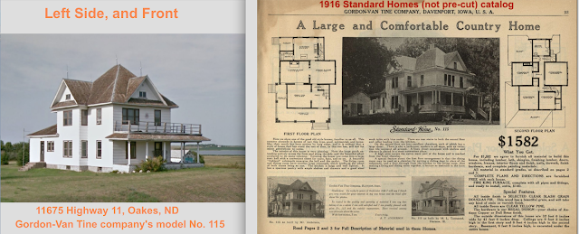 left to right comparison of Gordon-Van Tine Standard cut Home No. 115, at 11675 Highway 11, Oakes, ND and from the 1916 Standard Homes catalog