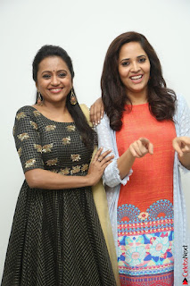 Actress Suma in Black Salwar Suit and Anusuya in orange Dress at winner movie press meet part 1 February 2017 (45).JPG