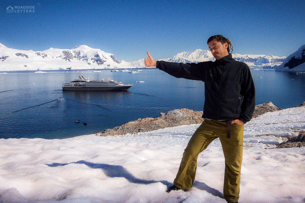 Paluch hitchhiking a ship in Antarctica