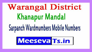 Khanapur Mandal Sarpanch Wardmumbers Mobile Numbers List Warangal District in Telang