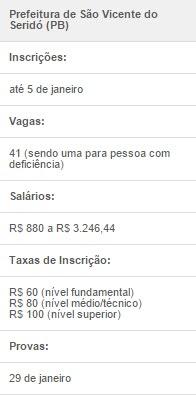Prorrogadas inscrições no concurso de São Vicente do Seridó, na Paraíba
