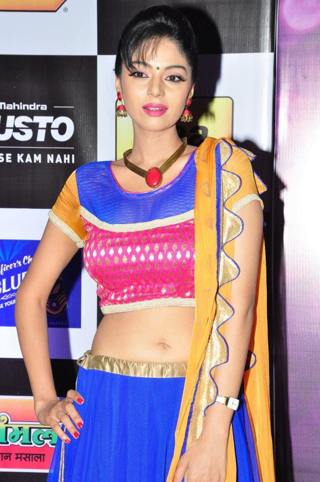 Sanam Shetty Navel Show Photos In Blue Lehenga Choli