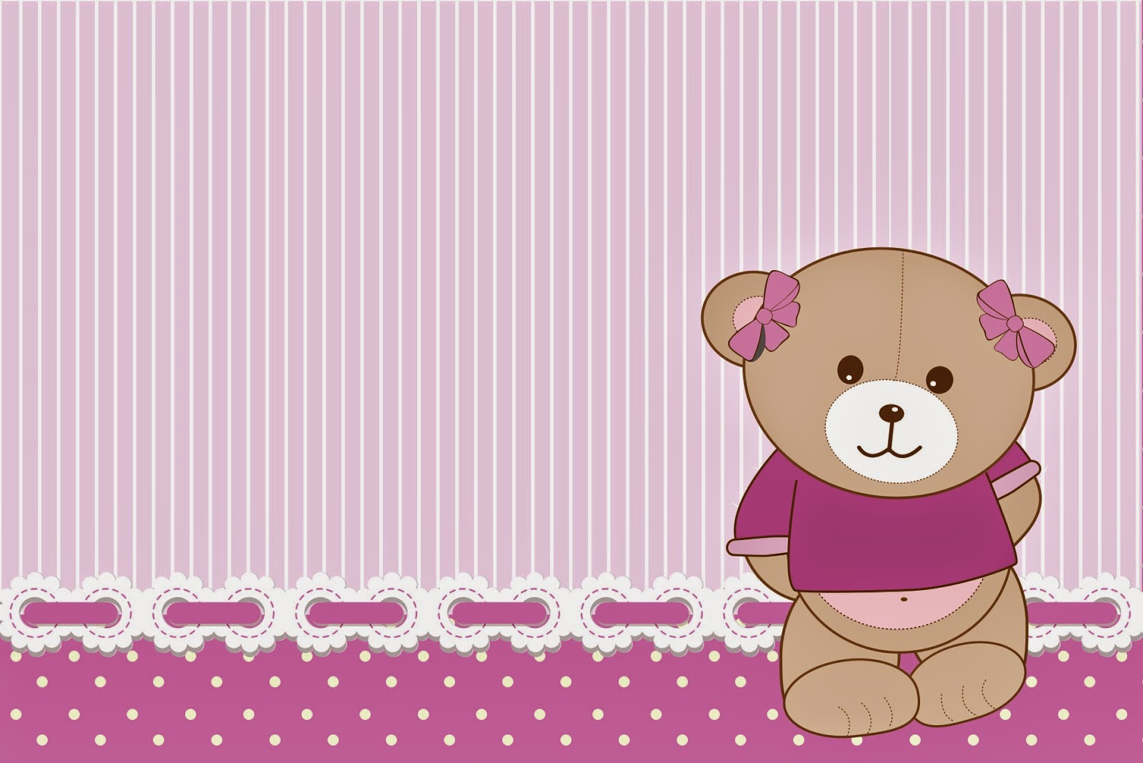 Cute Girl Bear in Lilac Free Printable Invitations, Labels or Cards.