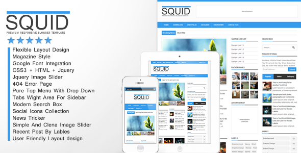Squid Clean Responsive Blogger Template Free download
