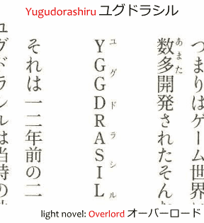 Example of furigana beside an English word showing its reading as katakana as shown in the light novel Overlord オーバーロード