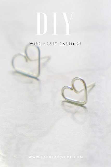 DIY Wire Heart Stud Earrings