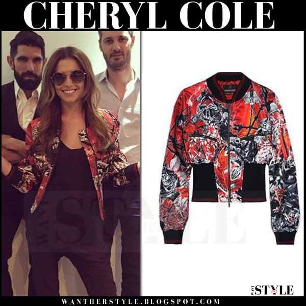 Cheryl Cole in red printed satin bomber jacket roberto cavalli what she wore instagram