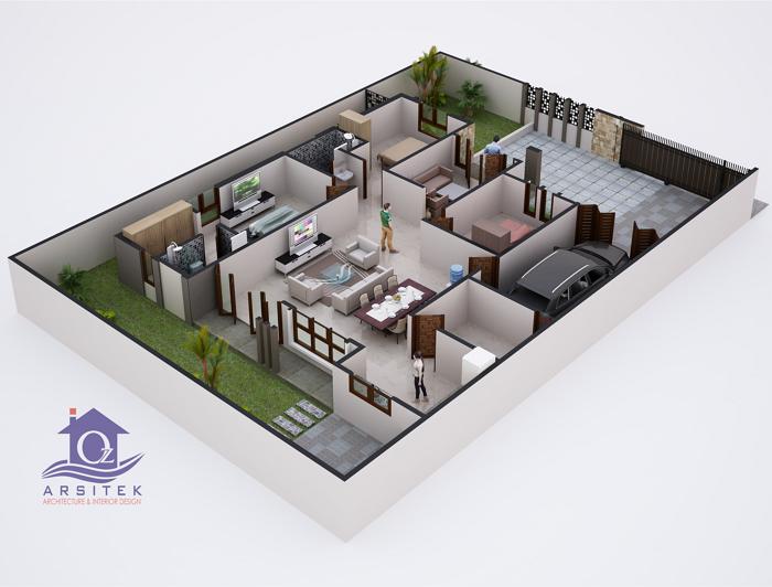 Denah 3D Rumah Mewah Modern