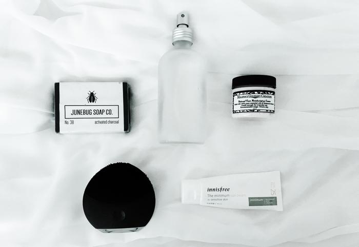 Minimal, natural skincare routine for acne prone skin
