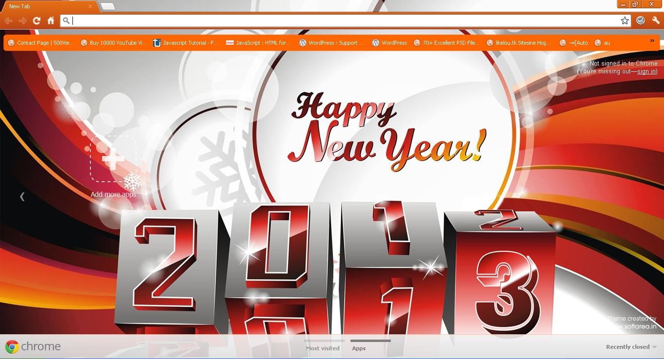 New Year 2013 Google Chrome Theme - Softarea in